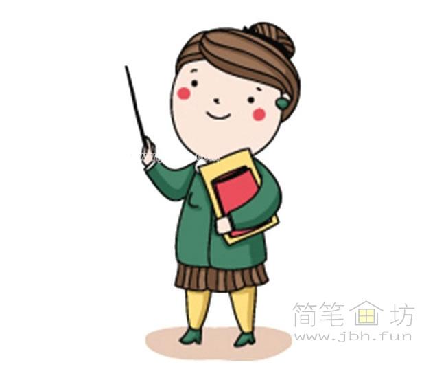 卡通女老师简笔画【彩色】(1)