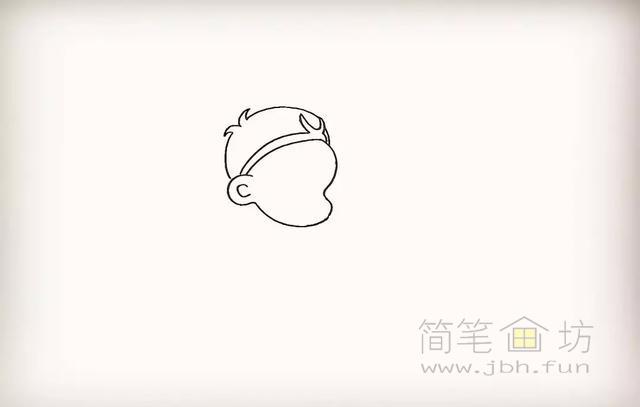 卡通孙悟空简笔画教程步骤【彩色】(4)