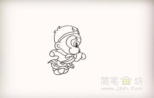 卡通孙悟空简笔画教程步骤【彩色】(10)