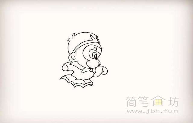 卡通孙悟空简笔画教程步骤【彩色】(9)