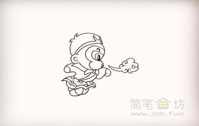 卡通孙悟空简笔画教程步骤【彩色】(11)
