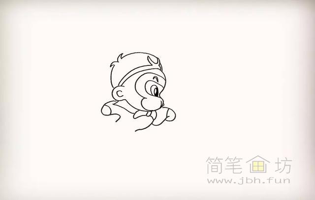 卡通孙悟空简笔画教程步骤【彩色】(8)