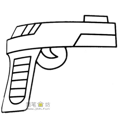 4种彩色简笔画手枪的画法图片(1)