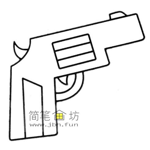 4种彩色简笔画手枪的画法图片(7)