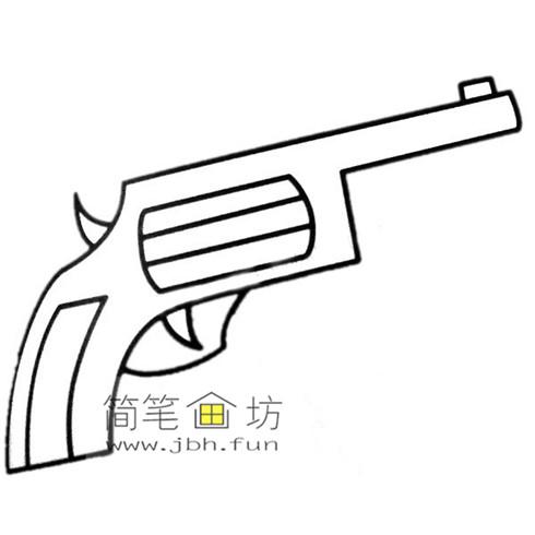 4种彩色简笔画手枪的画法图片(5)