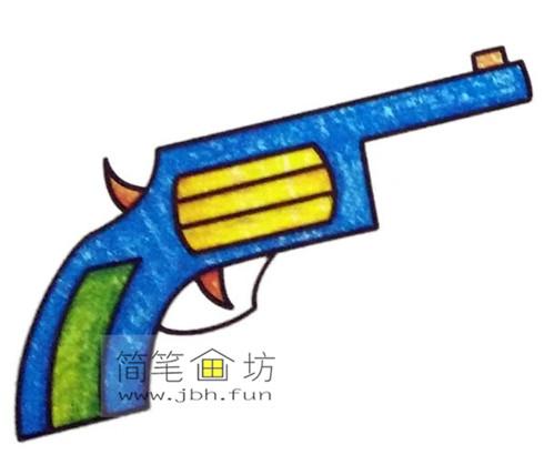 4种彩色简笔画手枪的画法图片(6)