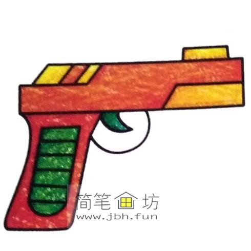 4种彩色简笔画手枪的画法图片(2)
