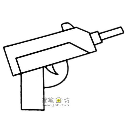 4种彩色简笔画手枪的画法图片(3)