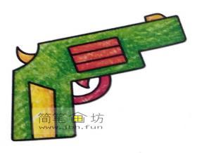 4种彩色简笔画手枪的画法图片