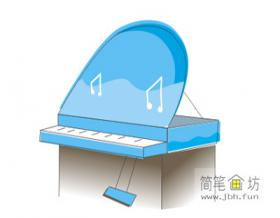 儿童简笔画钢琴的画法步骤教程【彩色】