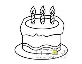 卡通生日蛋糕简笔画