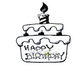 生日蛋糕简笔画1幅