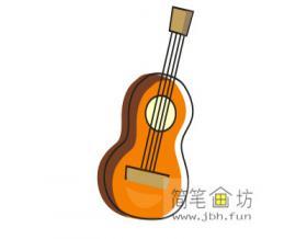 儿童彩色简笔画吉他的画法步骤教程