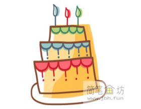儿童简笔画:美味的生日蛋糕的绘画步骤