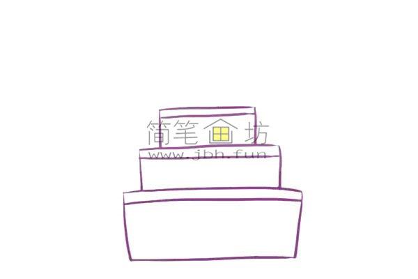 儿童简笔画彩色生日蛋糕画法(3)