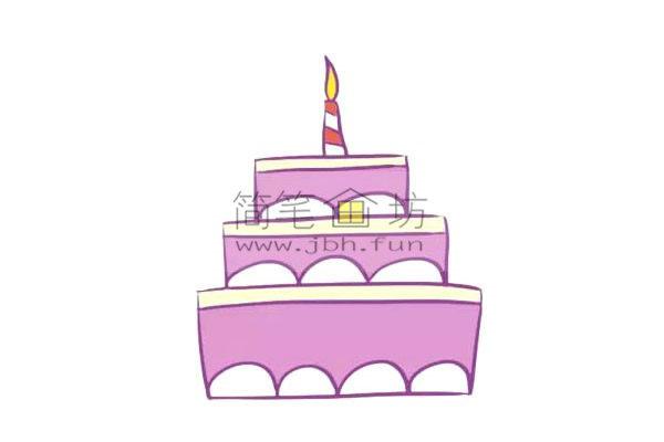 儿童简笔画彩色生日蛋糕画法(6)