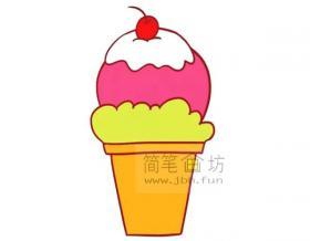 儿童画教程_彩色儿童简笔画冰激凌的画法步骤教程