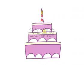 儿童简笔画彩色生日蛋糕画法