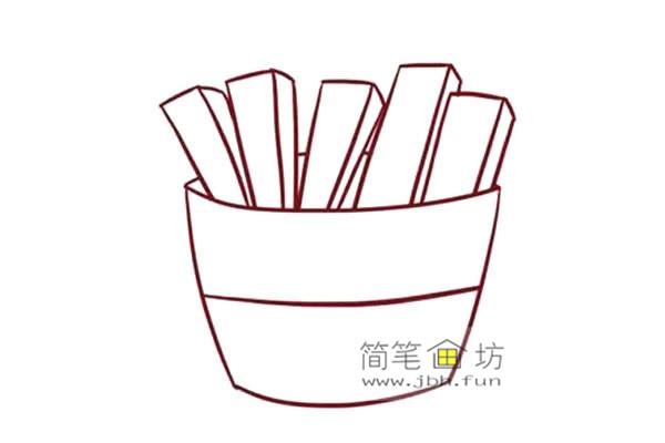 彩色儿童简笔画一包薯条的画法(4)