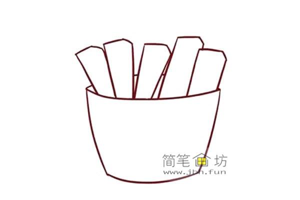 彩色儿童简笔画一包薯条的画法(2)