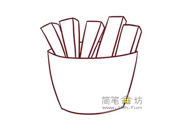 彩色儿童简笔画一包薯条的画法(3)