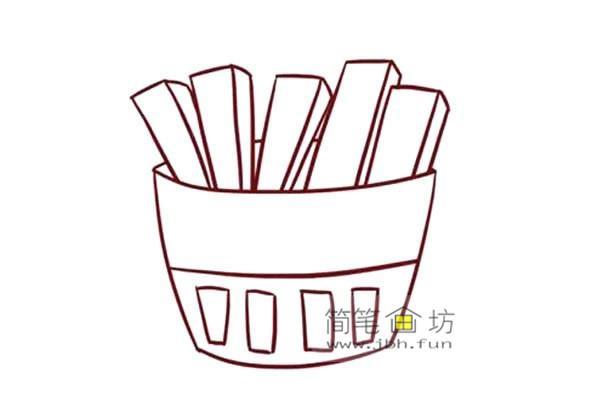 彩色儿童简笔画一包薯条的画法(5)