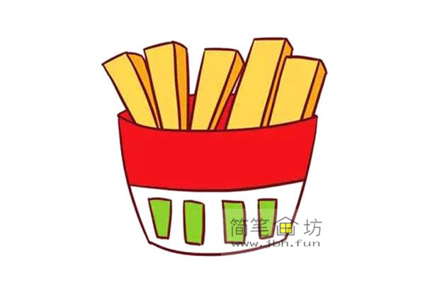彩色儿童简笔画一包薯条的画法(6)