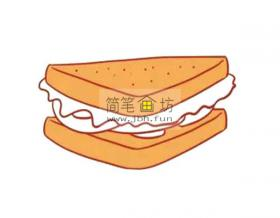 儿童简笔画三明治的画法教程【彩色 】