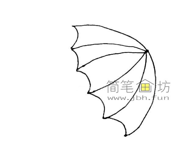 彩色雨伞的简笔画教程(3)