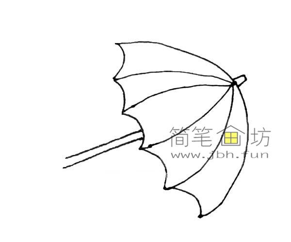彩色雨伞的简笔画教程(4)
