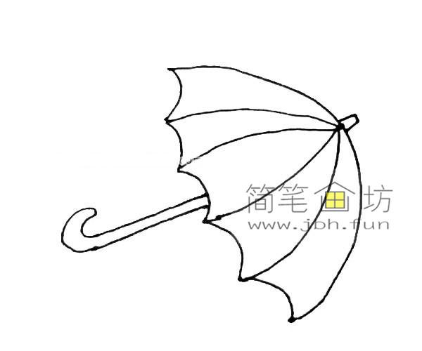 彩色雨伞的简笔画教程(5)