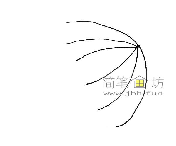 彩色雨伞的简笔画教程(2)