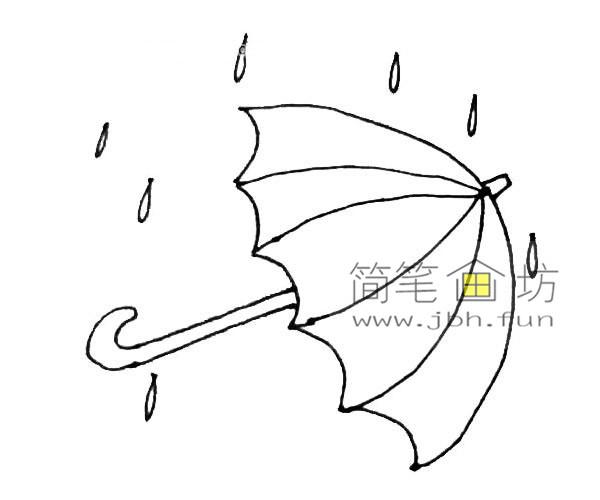 彩色雨伞的简笔画教程(6)