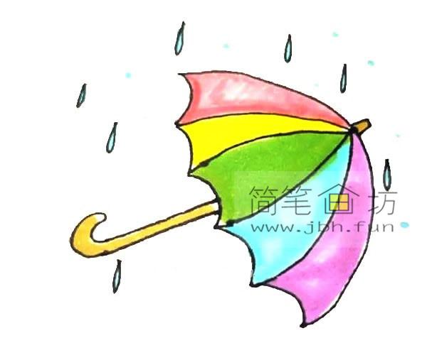 彩色雨伞的简笔画教程(7)