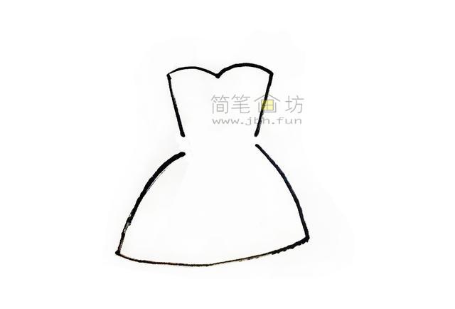 吊带连衣裙简笔画画法步骤大全(1)