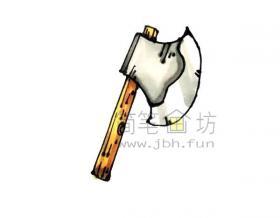 儿童简笔画:斧头简笔画绘画步骤【彩色】