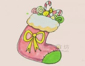 儿童简笔画:圣诞袜简笔画绘画步骤【彩色】