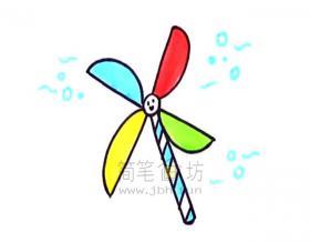 儿童简笔画:风车简笔画绘画步骤教程【彩色】
