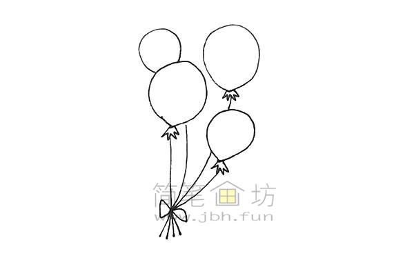 七彩气球简笔画绘画步骤【彩色】(5)