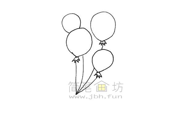七彩气球简笔画绘画步骤【彩色】(4)