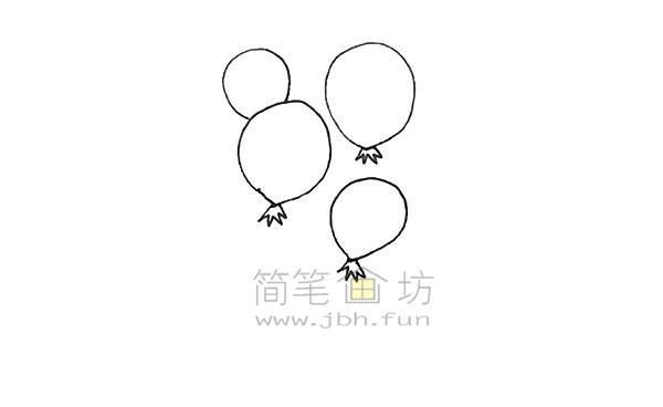 七彩气球简笔画绘画步骤【彩色】(3)