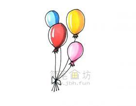 七彩气球简笔画绘画步骤【彩色】