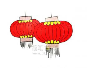 红红的灯笼简笔画绘画步骤【彩色】