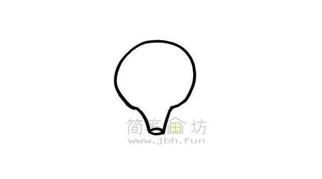 热气球简笔画绘画步骤【彩色】(1)