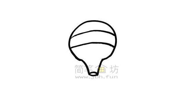 热气球简笔画绘画步骤【彩色】(2)