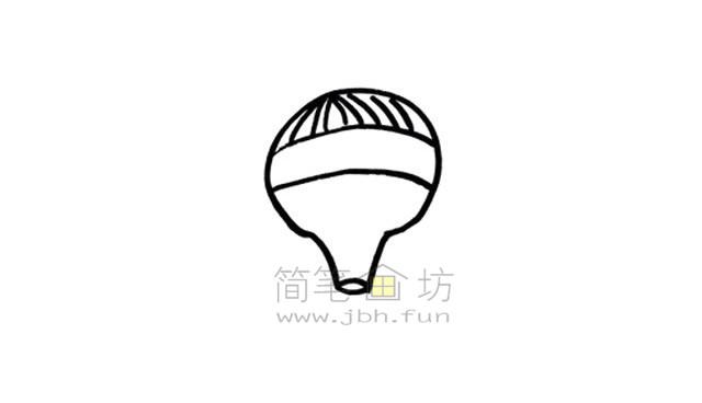 热气球简笔画绘画步骤【彩色】(3)