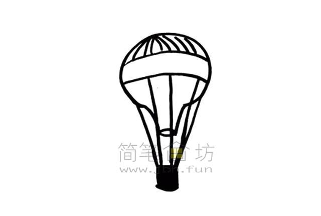 热气球简笔画绘画步骤【彩色】(5)