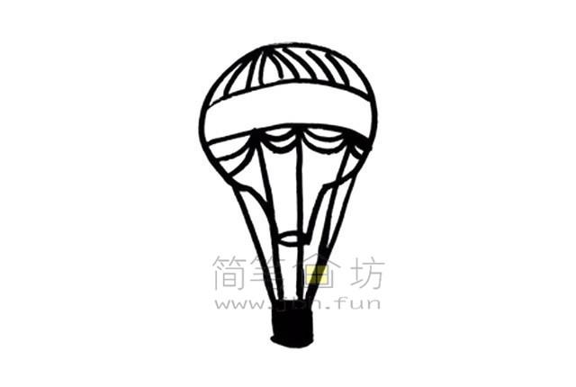 热气球简笔画绘画步骤【彩色】(6)