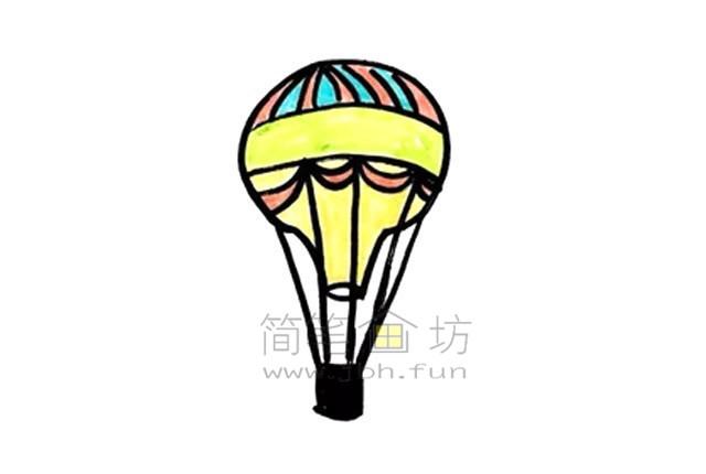热气球简笔画绘画步骤【彩色】(7)