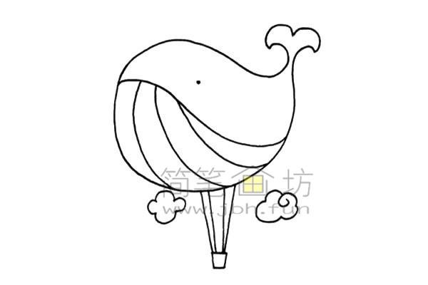 鲸鱼热气球简笔画画法(4)